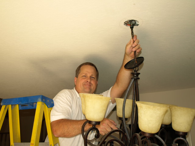 simi valley lighting electrical contractor hanging chandelier
